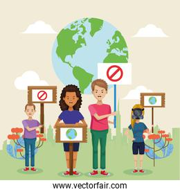 group of environmentalists with world planet earth