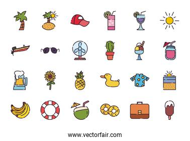 Isolated summer fill style icon set vector design