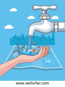 handwashing with cityscape corona virus scene