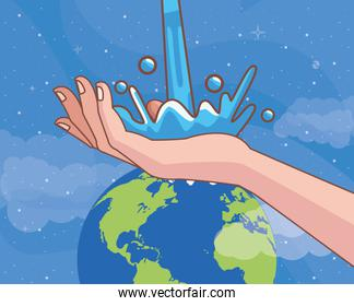 handwashing with world planet corona virus scene