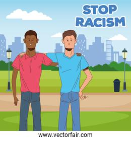 couple of interracial men stop racism campaign