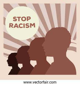 silhouette of men profiles stop racism campaign