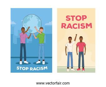 group of interracial men stop racism campaign