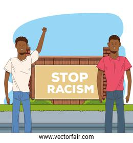 couple of afro men stop racism campaign