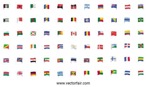 bundle of flags countries set icons