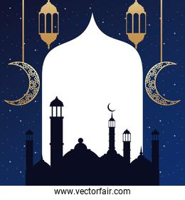 ramadan kareem card with golden lanterns and taj mahal