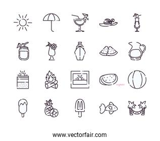 Isolated summer line style icon set vector design