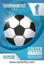 soccer sport poster with balloon