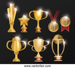 set of trophies and medals awards poster