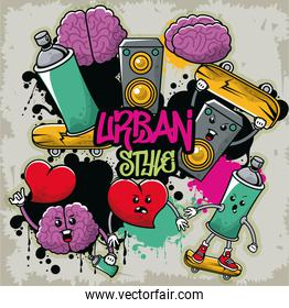 graffiti urban style poster with set icons