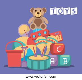 set toys baby isolated icons