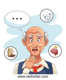 old man patient of alzheimer disease with set icons