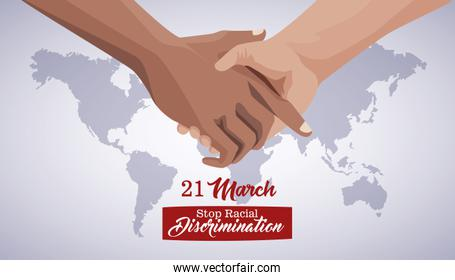 stop racism international day poster with hand shake and planet