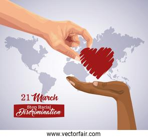 stop racism international day cartel with hand giving heart