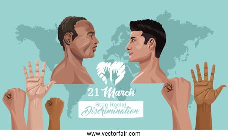 stop racism international day poster with interracial men profiles