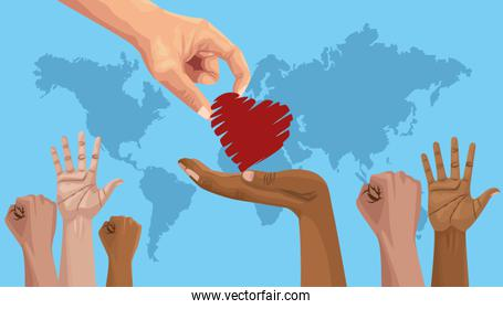 stop racism international day poster with hand giving heart