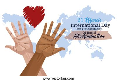 stop racism international day poster with hands and heart planet
