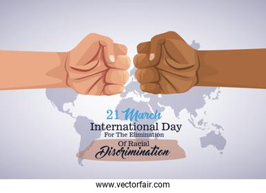 stop racism international day poster with hands fist crash