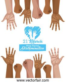 stop racism international day poster with
