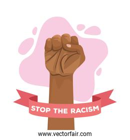 stop racism international day poster with hand fist