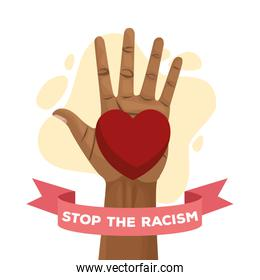 stop racism international day poster with hand and heart