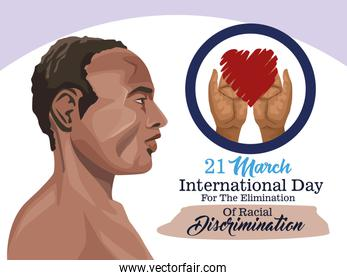 stop racism international day cartel with afro man profile