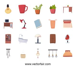 Isolated home flat style icon set vector design