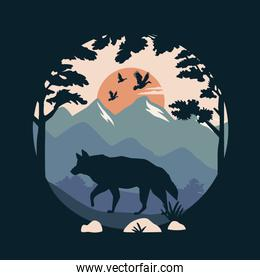 beautiful landscape with birds and wolf scene