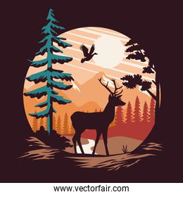 beautiful landscape with reindeer and birds scene