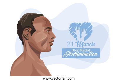 stop racism international day poster with afro man profile