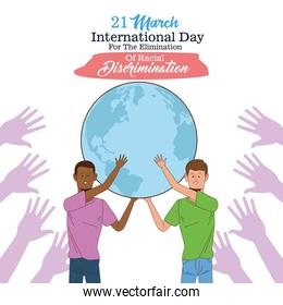 stop racism international day poster with interracial men lifting earth planet