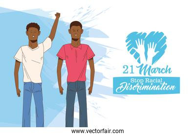 stop racism international day poster with afro men couple