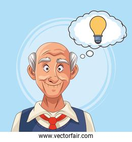 old man patient of alzheimer disease with bulb in speech bubble