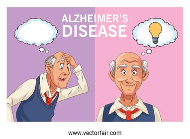older men patients of alzheimer disease with speech bubble and bulb
