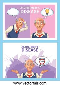 old men patients of alzheimer disease with speech bubble and bulb