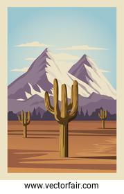 beautiful card with desert and cactus scene