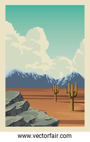 beautiful landscape with desert and cactus scene