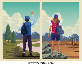 beautiful landscape with travelers couple scene