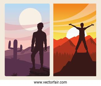 beautiful landscape with men travelers silhouettes scene