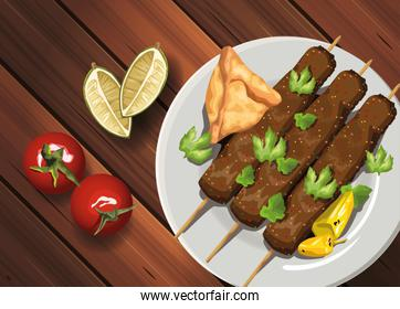 middle eastern food in wooden table