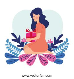 happy mothers day character with gift box