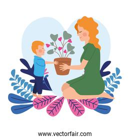 happy mothers day character with son and flowers