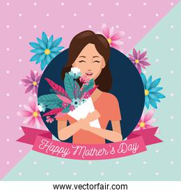happy mothers day character with flowers bouquet