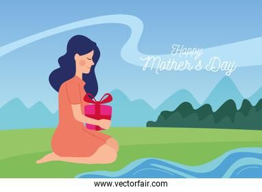 happy mothers day character with gift box in the camp