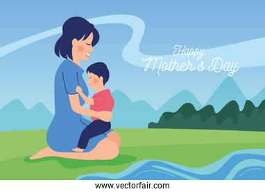 happy mothers day character with son over grass