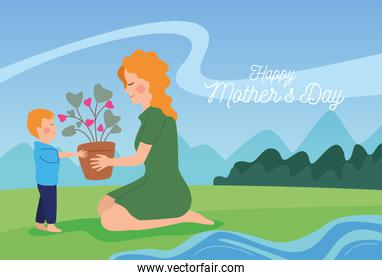 happy mothers day character with son in the field