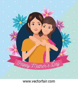 happy mothers day character with daughter and flowers ribbon frame