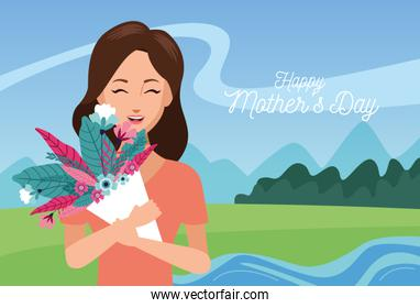 happy mothers day character with flowers bouquet in he field