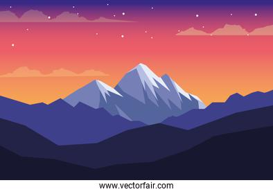 beautiful landscape with mountains scene