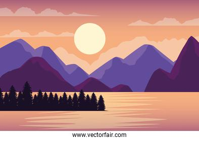 beautiful landscape with lake and mountains scene